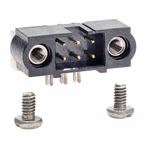 M80-5400622 - 3+3 Pos. Male DIL Horizontal Throughboard Conn. Jackscrews