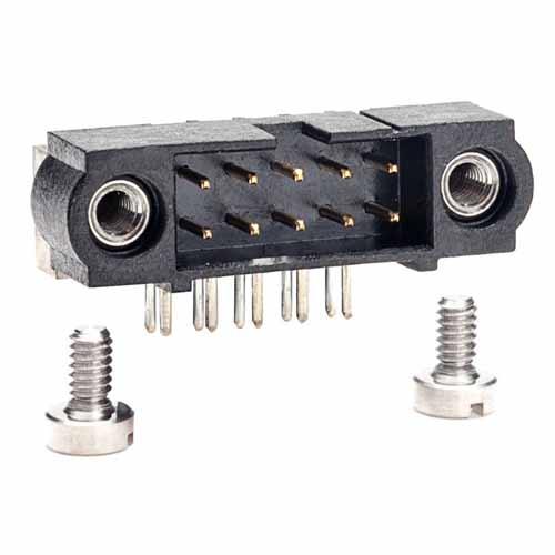 M80-5401042 - 5+5 Pos. Male DIL Horizontal Throughboard Conn. Jackscrews