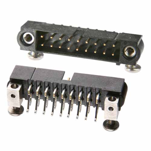 M80-5430442 - 2+2 Pos. Male DIL Horizontal SMT Conn. Jackscrews