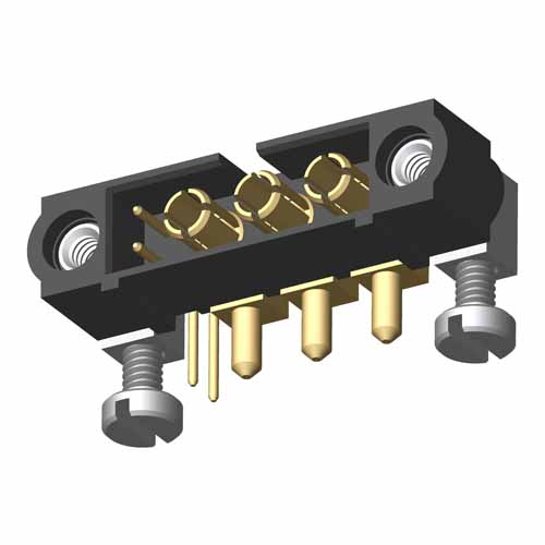 M80-5L10205M5-03-333-00-000 - 2+3 Pos. Male Signal+Power Horizontal Throughboard Conn. Jackscrews