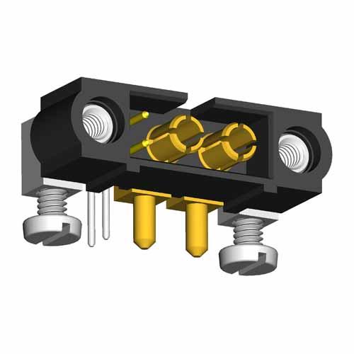 M80-5L10222M5-02-333-00-000 - 2+2 Pos. Male Signal+Power Horizontal Throughboard Conn. Jackscrews