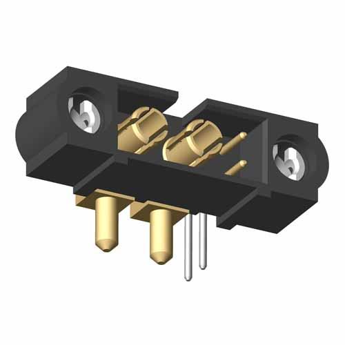 M80-5L10242MC-00-000-02-333 - 2+2 Pos. Male Signal+Power Horizontal Throughboard Conn. 101Lok