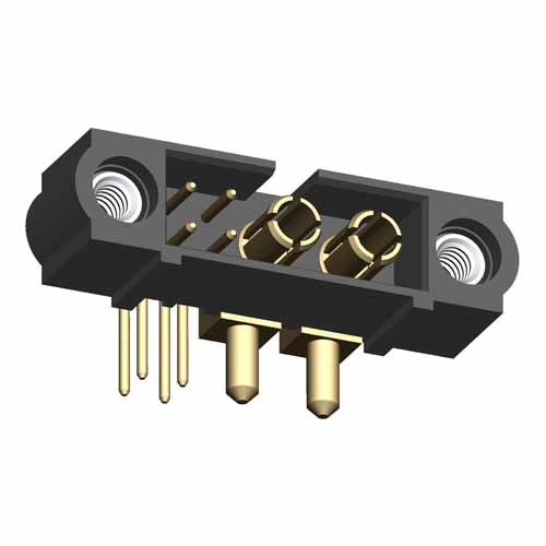 M80-5L10405M1-02-333-00-000 - 4+2 Pos. Male Signal+Power Horizontal Throughboard Conn. Jackscrews