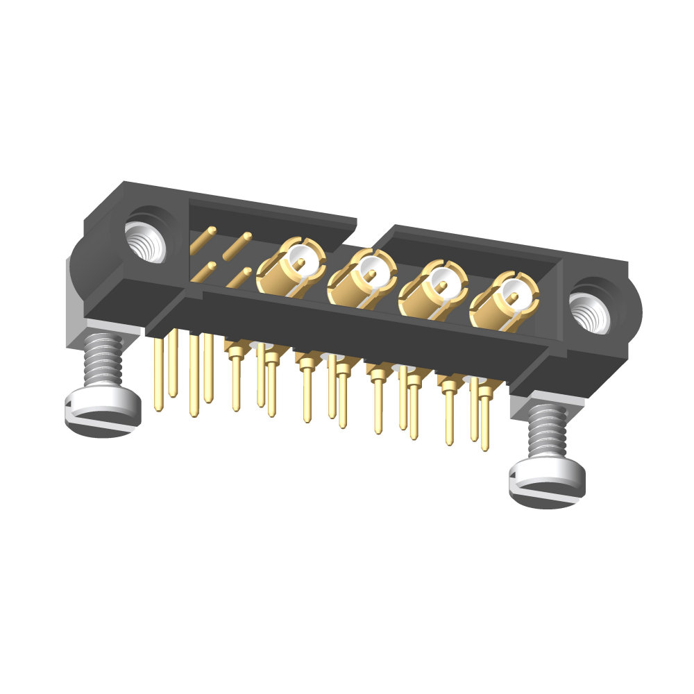 M80-5L10405M5-04-313-00-000 - 4+4 Pos. Male Signal+Coax Horizontal Throughboard Conn. Jackscrews