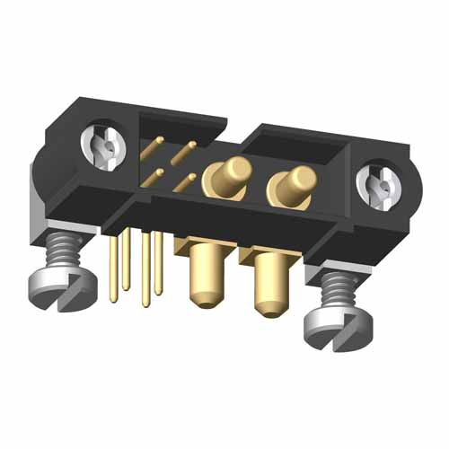M80-5L10405MD-02-PM3-00-000 - 4+2 Pos. Male Signal+Power Horizontal Throughboard Conn. 101Lok