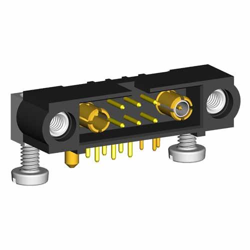M80-5L10605M5-01-313-01-333 - 6+1+1 Pos. Male Signal+Coax+Power Horizontal Throughboard Conn. Jackscrews