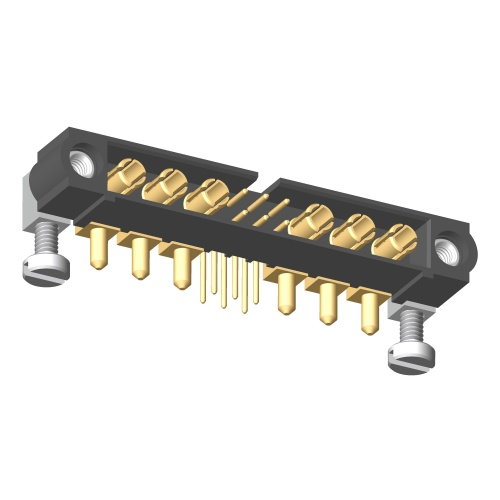 M80-5L10605M5-03-333-03-333 - 6+6 Pos. Male Signal+Power Horizontal Throughboard Conn. Jackscrews