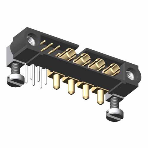 M80-5L10622M5-04-333-00-000 - 6+4 Pos. Male Signal+Power Horizontal Throughboard Conn. Jackscrews