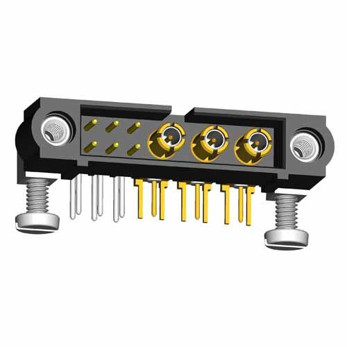 M80-5L10642M5-03-313-00-000 - 6+3 Pos. Male Signal+Coax Horizontal Throughboard Conn. Jackscrews