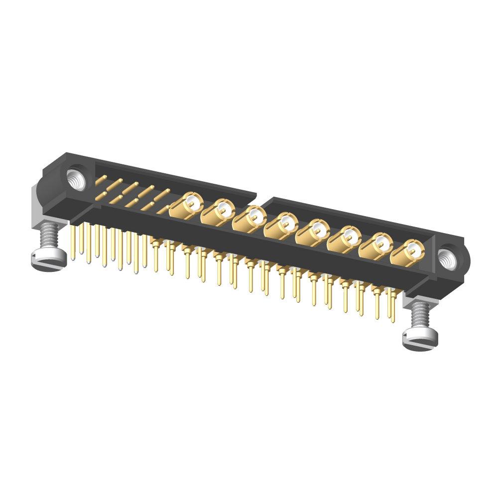 M80-5L11005M5-08-313-00-000 - 10+8 Pos. Male Signal+Coax Horizontal Throughboard Conn. Jackscrews
