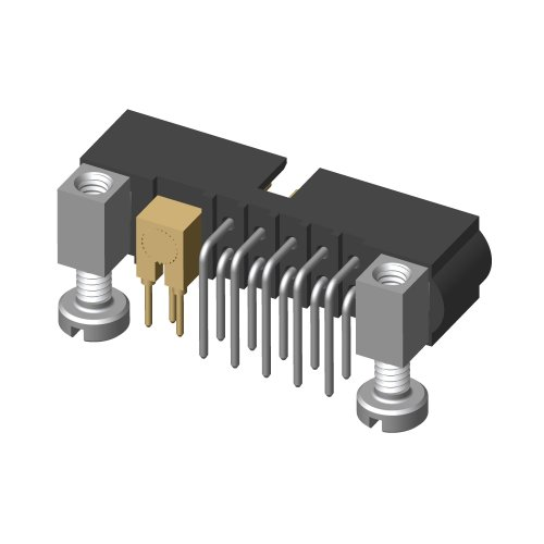 M80-5L11042M5-01-313-00-000 - 10+1 Pos. Male Signal+Coax Horizontal Throughboard Conn. Jackscrews