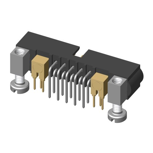 M80-5L11042M5-01-313-01-313 - 10+2 Pos. Male Signal+Coax Horizontal Throughboard Conn. Jackscrews