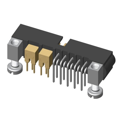 M80-5L11042M5-02-313-00-000 - 10+2 Pos. Male Signal+Coax Horizontal Throughboard Conn. Jackscrews
