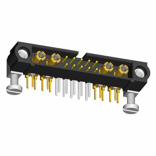M80-5L11042M5-02-313-02-313 - 10+4 Pos. Male Signal+Coax Horizontal Throughboard Conn. Jackscrews