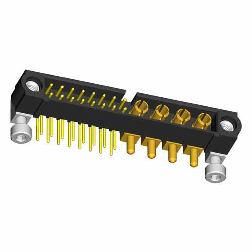 M80-5L11605M7-04-333-00-000 - 16+4 Pos. Male Signal+Power Horizontal Throughboard Conn. Jackscrews