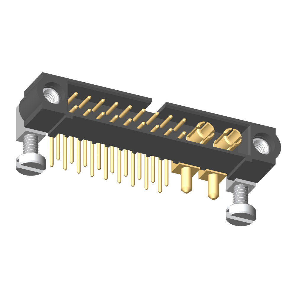 M80-5L11805M5-02-333-00-000 - 18+2 Pos. Male Signal+Power Horizontal Throughboard Conn. Jackscrews