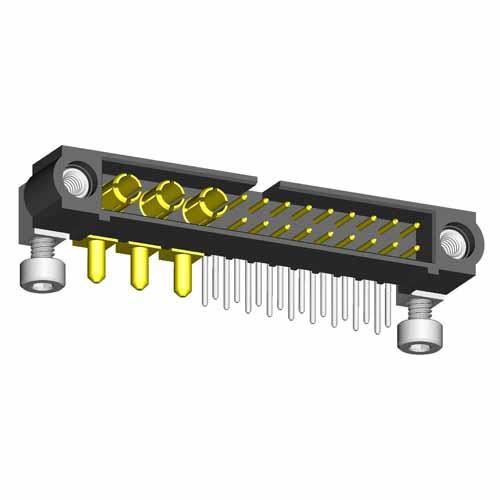 M80-5L11842M7-00-000-03-333 - 18+3 Pos. Male Signal+Power Horizontal Throughboard Conn. Jackscrews