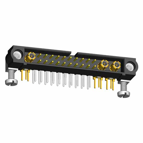 M80-5L12042M5-02-313-01-313 - 20+3 Pos. Male Signal+Coax Horizontal Throughboard Conn. Jackscrews