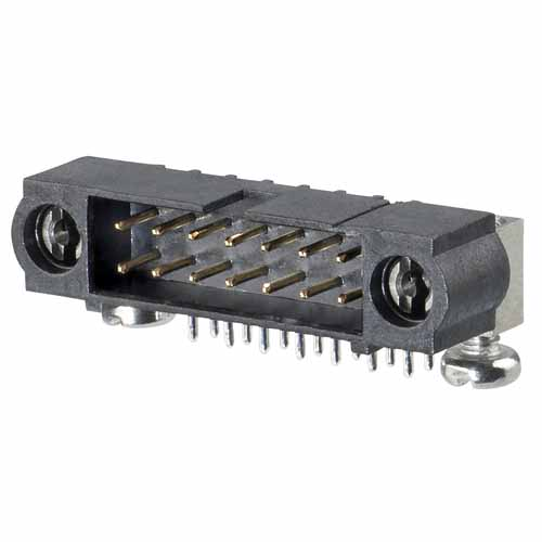 M80-5L12405MD - 12+12 Pos. Male DIL Horizontal Throughboard Conn. 101Lok
