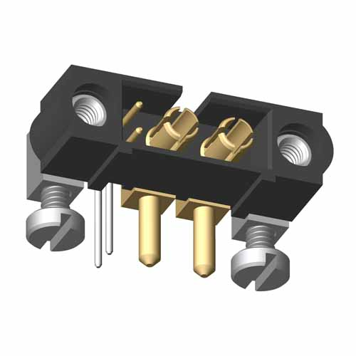 M80-5L20222M5-02-334-00-000 - 2+2 Pos. Male Signal+Power Horizontal Throughboard Conn. Jackscrews
