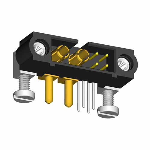 M80-5L20422M5-00-000-02-334 - 4+2 Pos. Male Signal+Power Horizontal Throughboard Conn. Jackscrews