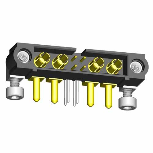 M80-5L20442M7-02-334-02-334 - 4+4 Pos. Male Signal+Power Horizontal Throughboard Conn. Jackscrews