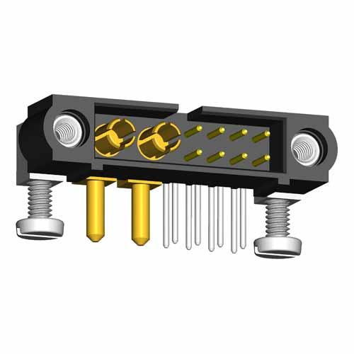 M80-5L20822M5-00-000-02-334 - 8+2 Pos. Male Signal+Power Horizontal Throughboard Conn. Jackscrews
