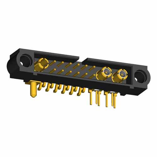 M80-5S2120500-02-313-01-333 - 12+2+1 Pos. Male Signal+Coax+Power Horizontal SMT Conn. No Jackscrews