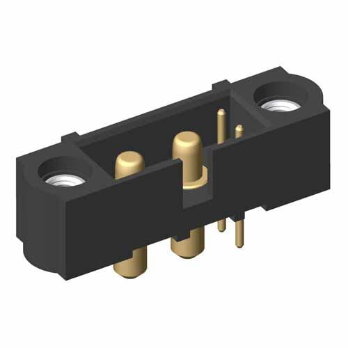 M80-5T10205M1-02-PM1-00-000 - 2+2 Pos. Male Signal+Power Vertical Throughboard Conn. Jackscrews