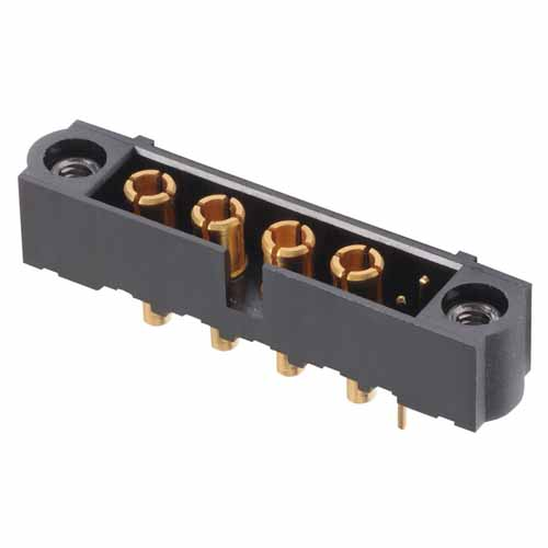 M80-5T10205M1-04-331-00-000 - 2+4 Pos. Male Signal+Power Vertical Throughboard Conn. Jackscrews
