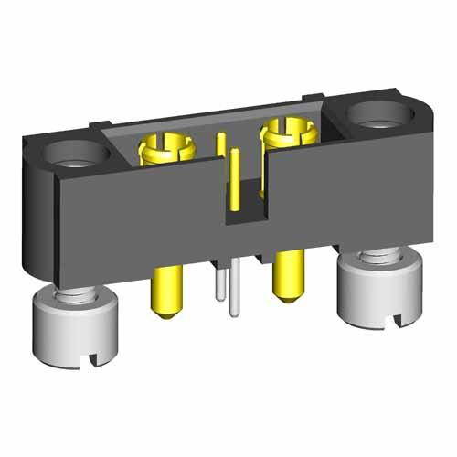 M80-5T10222M2-01-331-01-331 - 2+2 Pos. Male Signal+Power Vertical Throughboard Conn. Jackscrews