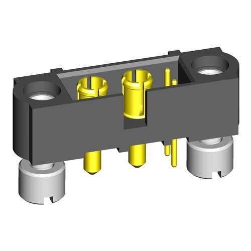 M80-5T10222M2-02-331-00-000 - 2+2 Pos. Male Signal+Power Vertical Throughboard Conn. Jackscrews