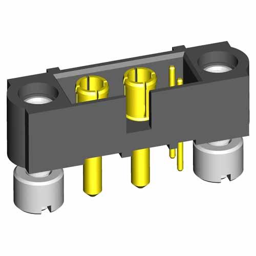 M80-5T10222M3-02-332-00-000 - 2+2 Pos. Male Signal+Power Vertical Throughboard Conn. Jackscrews