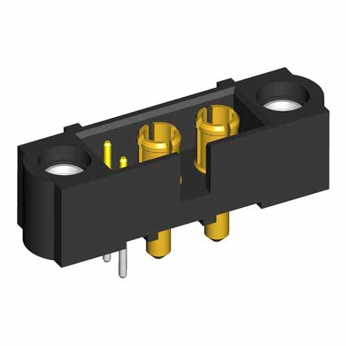 M80-5T10242M1-00-000-02-331 - 2+2 Pos. Male Signal+Power Vertical Throughboard Conn. Jackscrews