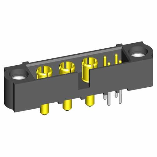 M80-5T10405M1-03-331-00-000 - 4+3 Pos. Male Signal+Power Vertical Throughboard Conn. Jackscrews