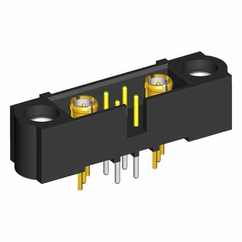 M80-5T10422M1-01-311-01-311 - 4+2 Pos. Male Signal+Coax Vertical Throughboard Conn. Jackscrews