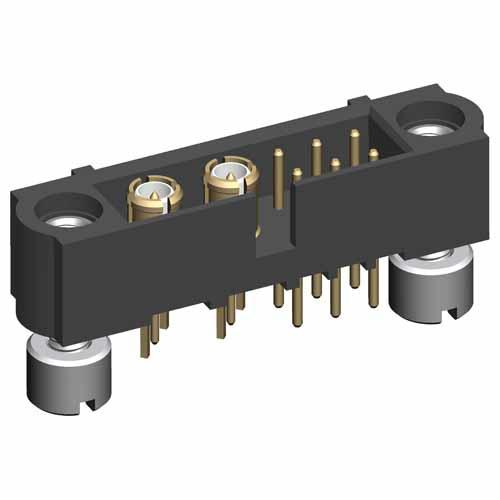 M80-5T10605M2-02-311-00-000 - 6+2 Pos. Male Signal+Coax Vertical Throughboard Conn. Jackscrews