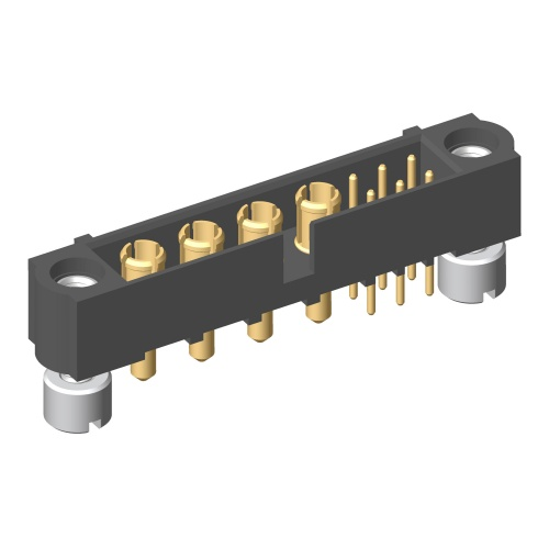 M80-5T10605M2-04-331-00-000 - 6+4 Pos. Male Signal+Power Vertical Throughboard Conn. Jackscrews