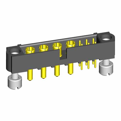 M80-5T10605M3-04-332-00-000 - 6+4 Pos. Male Signal+Power Vertical Throughboard Conn. Jackscrews