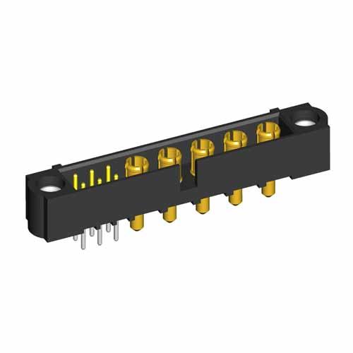 M80-5T10622M1-00-000-05-331 - 6+5 Pos. Male Signal+Power Vertical Throughboard Conn. Jackscrews