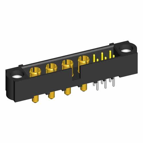 M80-5T10622M1-04-331-00-000 - 6+4 Pos. Male Signal+Power Vertical Throughboard Conn. Jackscrews