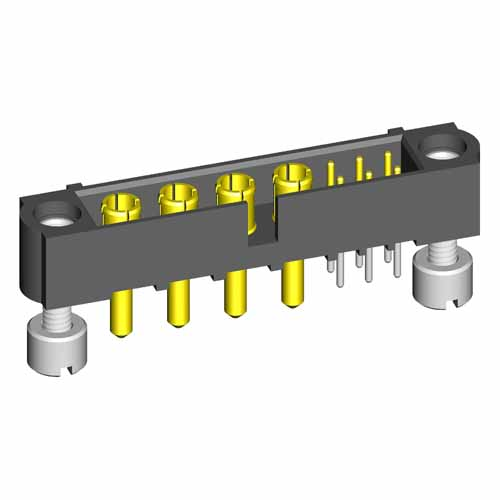 M80-5T10622M3-04-332-00-000 - 6+4 Pos. Male Signal+Power Vertical Throughboard Conn. Jackscrews