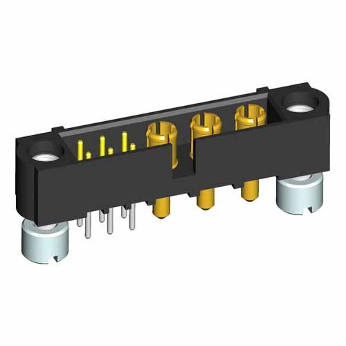 M80-5T10642M2-00-000-03-331 - 6+3 Pos. Male Signal+Power Vertical Throughboard Conn. Jackscrews
