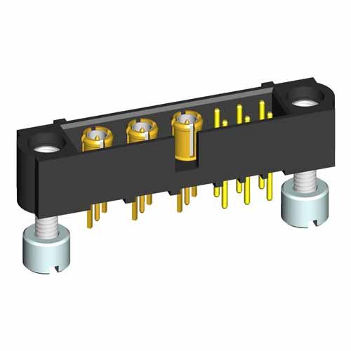 M80-5T10642M3-03-311-00-000 - 6+3 Pos. Male Signal+Coax Vertical Throughboard Conn. Jackscrews