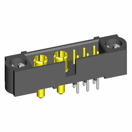 M80-5T10642MC-02-331-00-000 - 6+2 Pos. Male Signal+Power Vertical Throughboard Conn. 101Lok