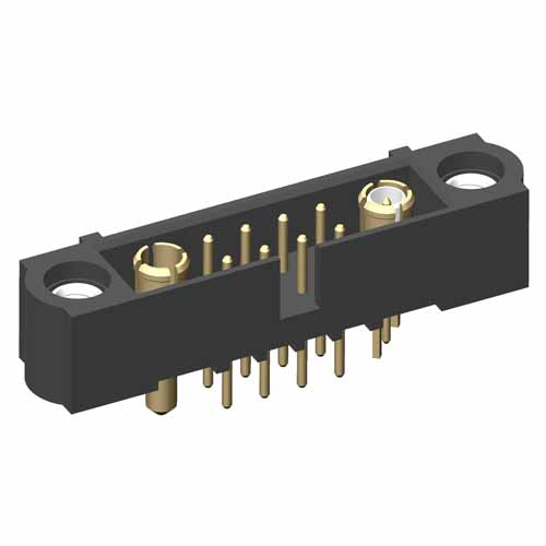 M80-5T10805M1-01-331-01-311 - 8+1+1 Pos. Male Signal+Power+Coax Vertical Throughboard Conn. Jackscrews