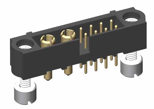M80-5T10805M3-02-331-00-000 - 8+2 Pos. Male Signal+Power Vertical Throughboard Conn. Jackscrews