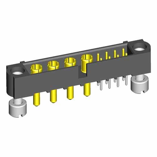 M80-5T10805M3-04-332-00-000 - 8+4 Pos. Male Signal+Power Vertical Throughboard Conn. Jackscrews