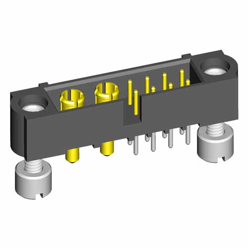 M80-5T10822M3-02-331-00-000 - 8+2 Pos. Male Signal+Power Vertical Throughboard Conn. Jackscrews