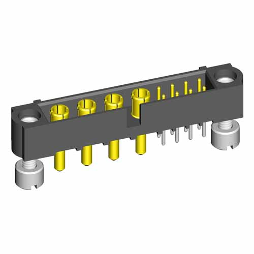 M80-5T10822M3-04-332-00-000 - 8+4 Pos. Male Signal+Power Vertical Throughboard Conn. Jackscrews